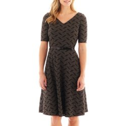 Black Label by Evan-Picone  - Short-Sleeve Belted Fit-and-Flare Dress