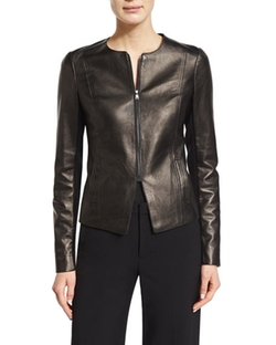 Vince - Tailored Slim-Fit Leather Jacket														 Favorite Tank														 Tailored Cropped Culottes