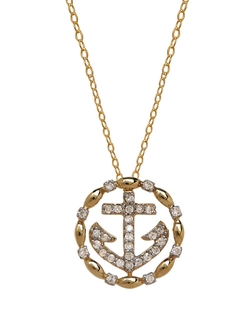 Lord & Taylor - Yellow Gold Diamond Anchor Necklace