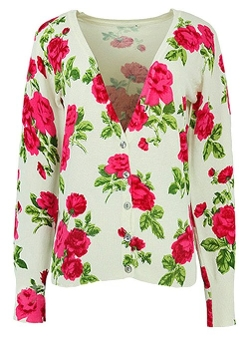 Hellofashion - Floral Printed Knitting Cadigan