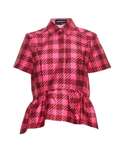 House of Holland - Gingham-Check Twill Peplum Top