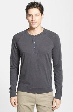 Vince  - Raglan Sleeve Slub Cotton Henley Shirt