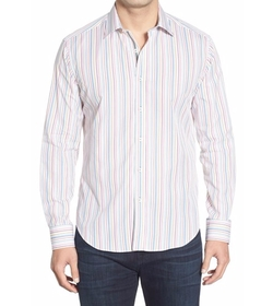 Bugatchi - Shaped Fit Stripe Sport Shirt