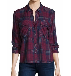 Rails - Dylan Plaid Long-Sleeve Shirt, Oxblood/Navy