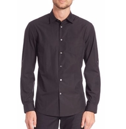 John Varvatos - Solid Adjustable Sleeve Shirt