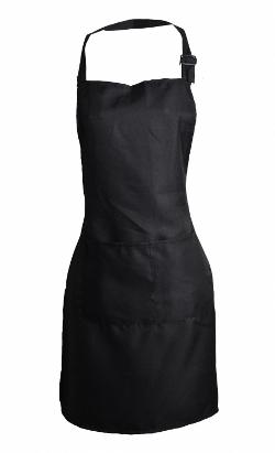 Good&God - Unisex Black Kitchen Apron Bib with 2 Pocket Women Size Adjustable Neck Strap