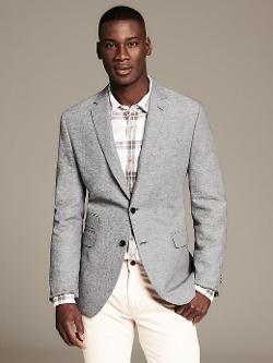 Banana Republic - Heritage Textured Grey Cotton/Linen Blazer