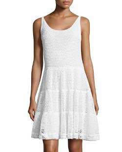 Diane Von Furstenberg   - Sleeveless Crochet Fit-&-Flare Dress