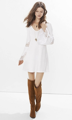 Express - Lace Inset Trapeze Dress