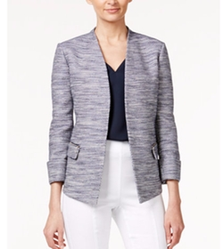 Alfani - Zip-Pocket Tweed Blazer