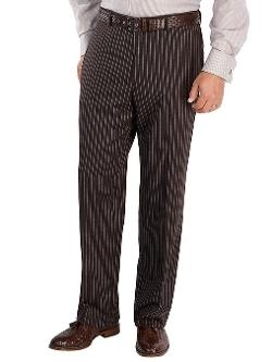 Paul Fredrick  - Wool Flannel Stripe Flat Front Pants