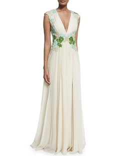 Badgley Mischka  - Sleeveless Floral-Embellished Grecian Gown