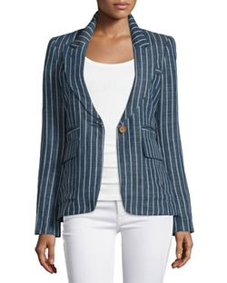 Smythe - Skinny-Striped One-Button Blazer