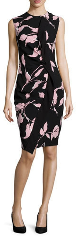 Escada - Sleeveless French-Rose-Print Sheath Dress