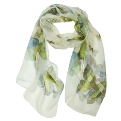 Wrapables  - Silk Butterfly Print Long Scarf