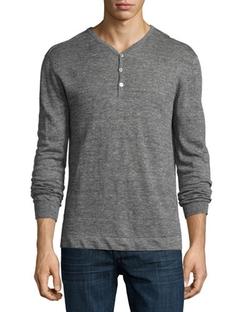 John Varvatos Star USA  - Long-Sleeve Linen Henley Shirt