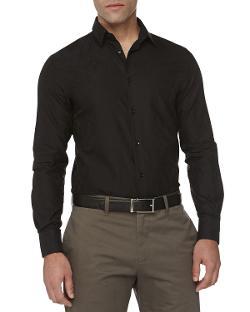 Versace  - Trend-Fit Jacquard Sport Shirt, Black
