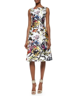 Oscar De La Renta  - Abstract Floral-Print Fit-And-Flare Dress