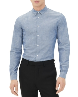 Sandro  - Seamless Vichy Slim Fit Button Down Shirt