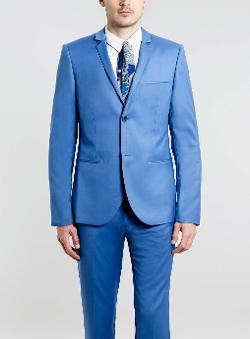 Topman - Mid Blue Skinny Fit Suit