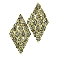 ParisianChic - Diamond Shape Metal Crystal Earrings