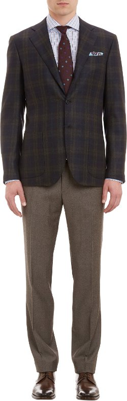 Kiton  - Windowpane Plaid Cashmere Three-button Sportcoat