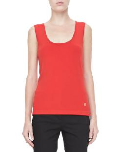 Rena Lange  - Knit Scoop-Neck Tank