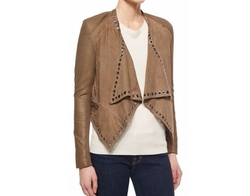 Neiman Marcus - Grommet-Detail Draped Leather Jacket