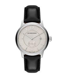 Burberry - Stainless Steel Leather Strap Watch