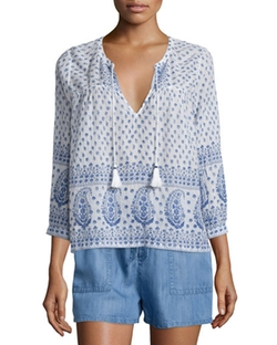 Soft Joie - Deandra Split-Neck Printed Top