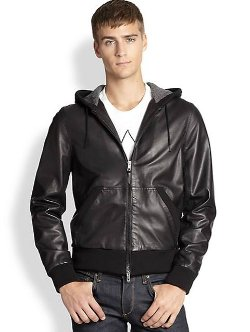 Rag & Bone  - Christopher Leather Hoodie Jacket