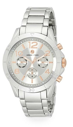 Adrienne Vittadini - Sport Boyfriend Silvertone Chronograph Bracelet Watch