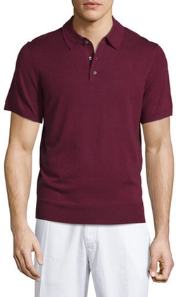 Neiman Marcus - Short-Sleeve Cashmere-Silk Polo Shirt