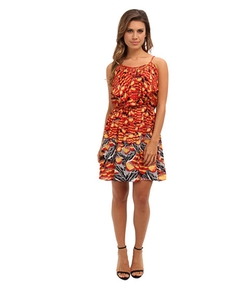 Angie - Lattice Trim Print Dress