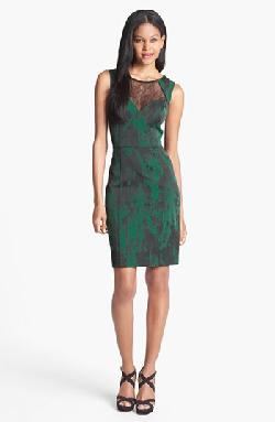 Aidan Mattox  - Lace Neckline Jacquard Sheath Dress