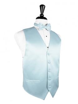 """FineTuxedos - Light Blue """"Premier"""" Satin Tuxedo Vest"""