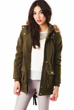 Fashion Union - Marisol Parka Coat with Fur Hood in Khaki