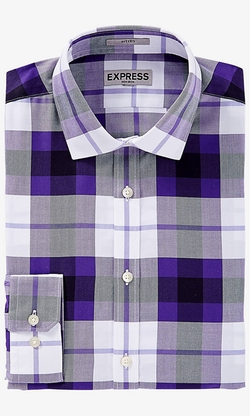 Express - Fitted Plaid Non-Iron Shirt