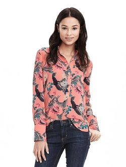 Banana Republic - Bird Print Popover Blouse