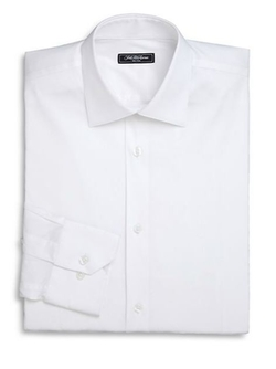 Saks Fifth Avenue Collection  - Trim-Fit Solid Dress Shirt