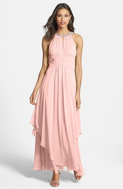 Eliza J - Embellished Tiered Chiffon Halter Gown