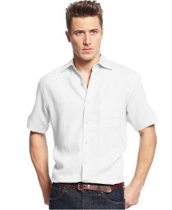 Club Room  - Short Sleeve Linen Blend Herringbone Shirt