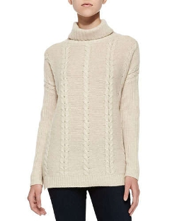 Neiman Marcus Cashmere Collection - Cable-Knit Cashmere Turtleneck Sweater