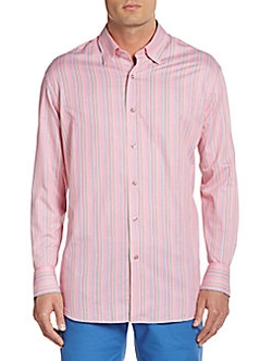 Saks Fifth Avenue - Multistriped Cotton Sportshirt