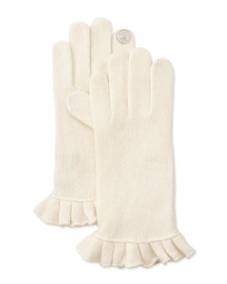 Portolano  - Cashmere-Blend Ruffle Tech Gloves