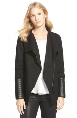 Mackage - Leather Trim Wide Collar Wool Blend Jacket