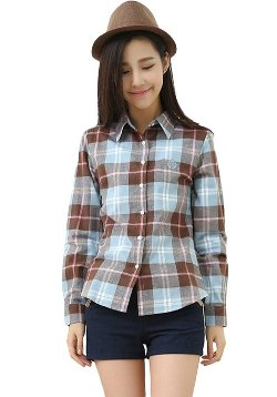 Aria Moda - Cotton Plaid Pattern Shirt