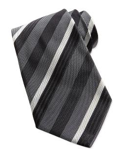 Armani Collezioni   - Textured Multi-Stripe Silk Tie, Black