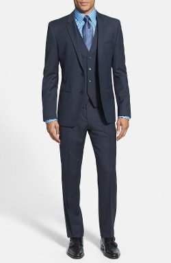 Hugo - Extra Trim Fit Three-Piece Dark Blue Suit