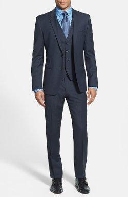 Hugo - Extra Trim Fit Three-Piece Dark Blue Suit